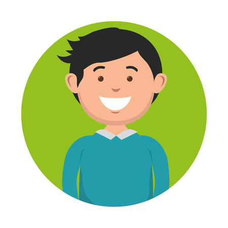 A dark-haired smiling man icon over green and white background. Vector illustration.