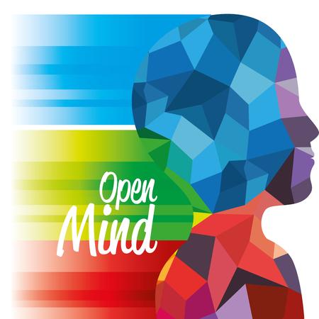 Seitenansicht des oberen Schattenbildes des menschlichen Körpers mit bunten geometrischen Formen und offenem Verstand kennzeichnen vorbei weißen Hintergrund. Standard-Bild - 77624189