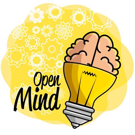 Bombilla con icono de cerebro y ruedas dentadas sobre fondo amarillo y blanco. Ilustración del vector.