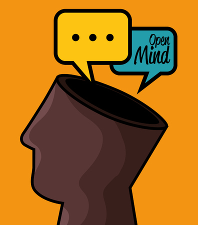 Head with hole on top and speech balloons  over orange background. Vector illustration. Illustration
