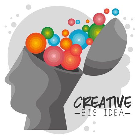 Open human head with colorful circles icon over gray and white background. Vector illustration.