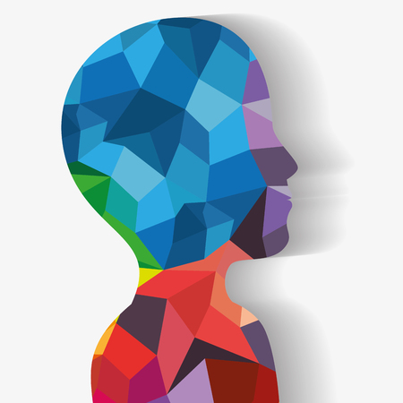 Side view of upper human body silhouette with colorful geometric shapes over white background. Vector illustration. Illustration