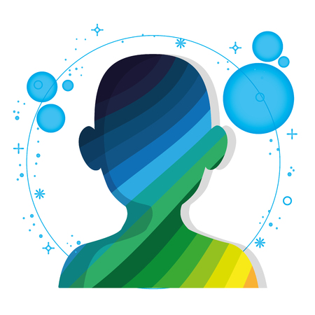 Upper human body silhouette with colorful diagonal stripes and blue circles over white background. Vector illustration. Illustration