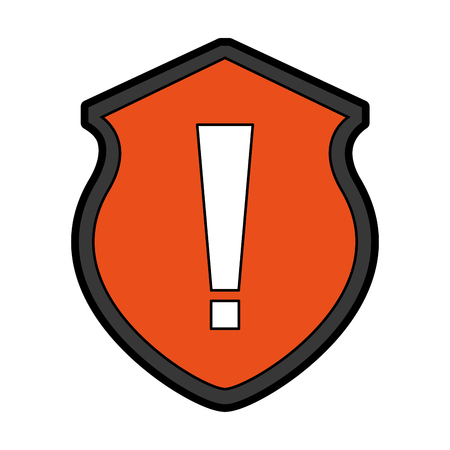 security shield with alert sign isolated icon vector illustration design