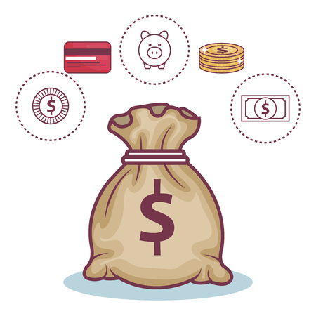 Money bag and other money-related objects over white background. Vector illustration. Illustration