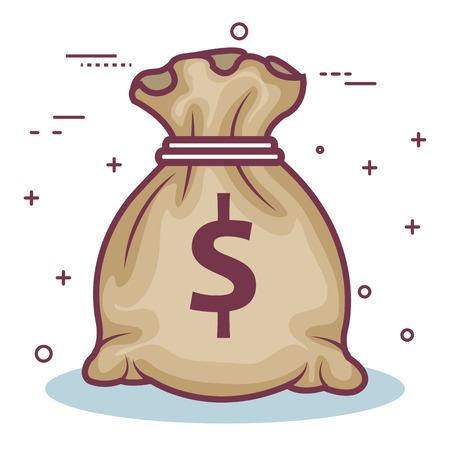 Money bag over white background. Vector Illustration.