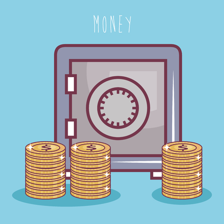 Safe and coins over blue background. Vector illustration. Ilustrace