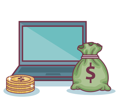 Laptop, coins and money bag over white background. Vector illustration.