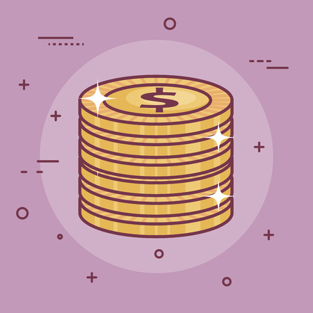 Coins over purple background. Vector illustration design. Ilustrace