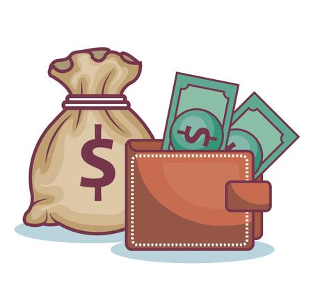 Wallet, bills and money bag over white background. Vector illustration.
