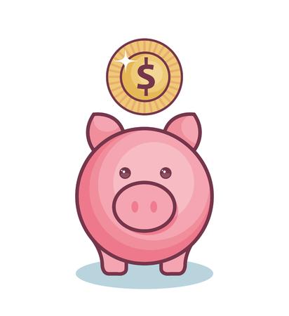 Piggy bank and coin over white background. Vector illustration. Illustration