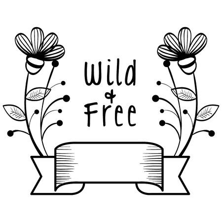 手描き野生と無料サイン リボンと白い背景の上の花。ベクトルの図。