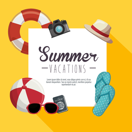 Summer vacations sign with passport, camera, sunglasses and other beach-related objects over yellow background. Vector illustration.