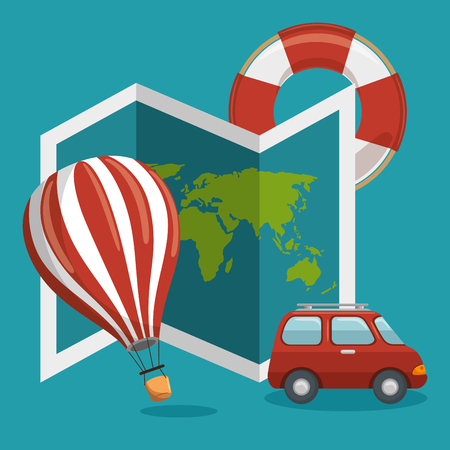 visiting card: Air balloon, map, rubber ring and car over blue background. Vector illustration.