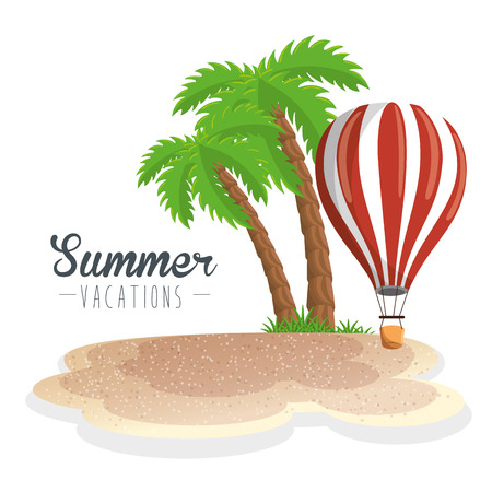 Palm tree, beach and air balloon and summer vacations sign over white background. Vector illustration. Illustration