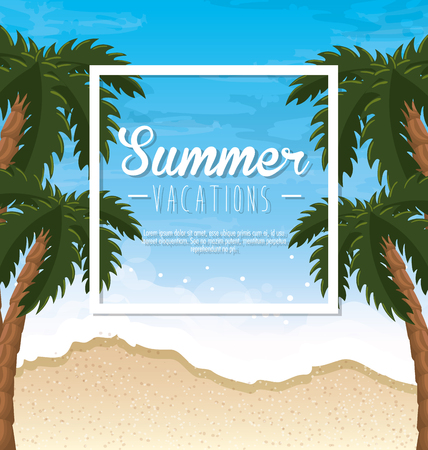 Summer vacations sign with palms over beach background. Vector illustration. Illustration