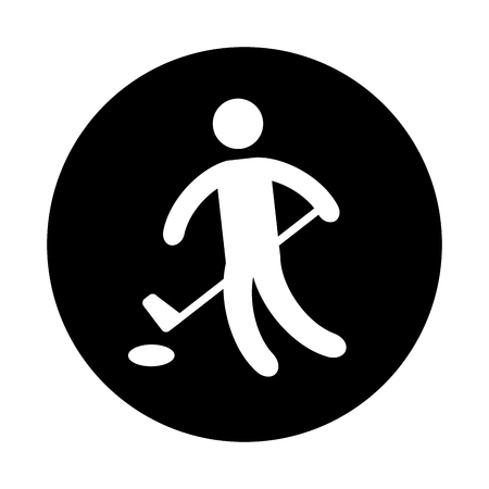 Silhouette of athlete practicing hokey vector illustration design