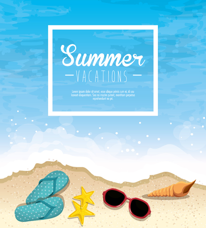 Summer vacations sign with flip flops, starfish, sunglasses and seashell over beach background. Vector illustration. Illustration