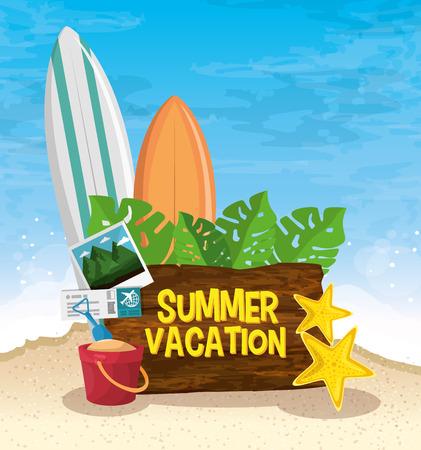 海辺のビーチに関連するオブジェクトと夏の休暇の木製看板は風景の背景です。ベクトルの図。