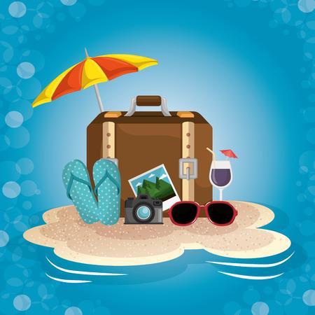 Umbrella, suitcase, cocktail, sunglasses, camera, picture and flip flops on sand over blue background. Vector illustration. Illustration