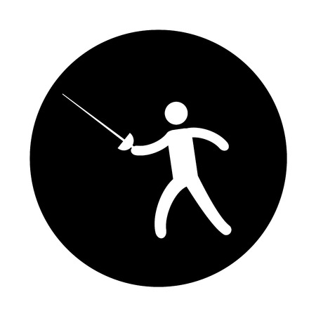 Silhouette of athlete practicing fencing vector illustration design