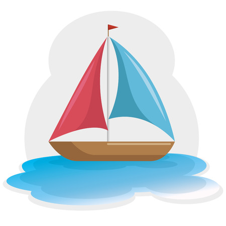 Colorful sailboat on water icon over white background. Vector illustration.
