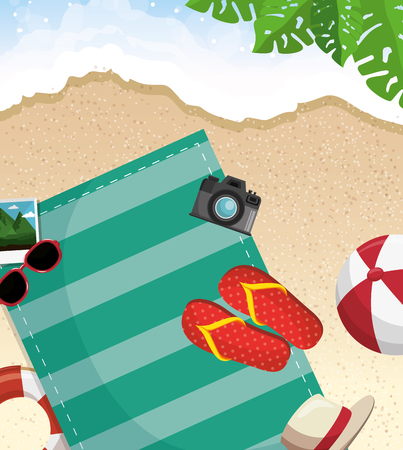 Towel, sunglasses, camera, flip flops, hat, ball and rubber ring over beach background with tropical leaves. Vector illustration. Illustration