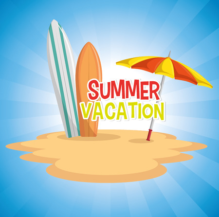 Summer vacation sign with surf boards and sun umbrella on sand, over blue background. Vector illusitration.