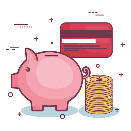 Piggy bank, card and coins over white background. Vector illustration.