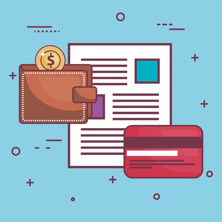 Wallet, coin, document and card over blue background. Vector illustration.