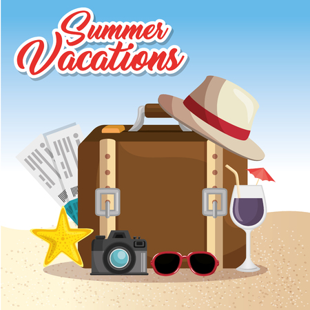 Suitcase, plane tickets, camera and beach-related objects with summer vacations sign over beach background. Vector illusitration.
