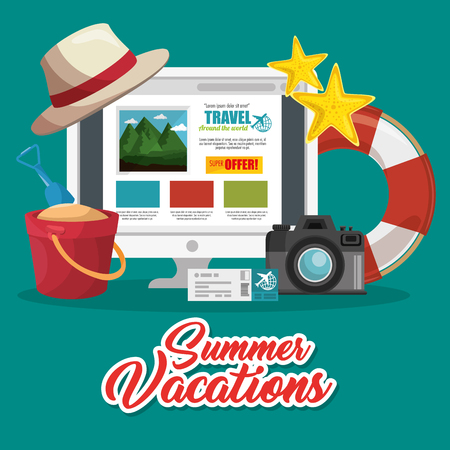 Trip planning website on screen with camera,  plane ticket and beach-related objects over teal background. Vector illustration. Иллюстрация
