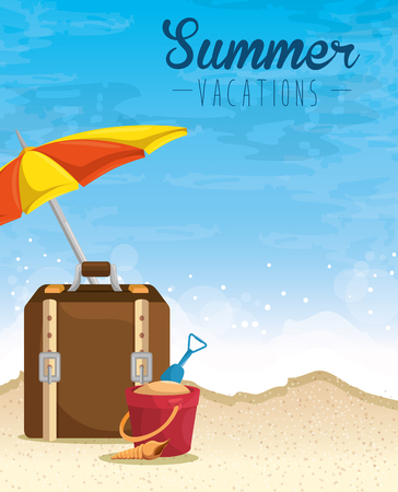 Umbrella, suitcase, sand bucket and shovel over beach background. Vector illustration.