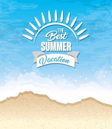 The best summer vacation sign over beach background. Vector illustration.