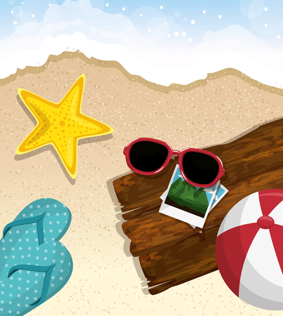 Starfish, sunglasses, ball, flip flops, pictures and wood plank over beach background. Vector illustration. Illustration