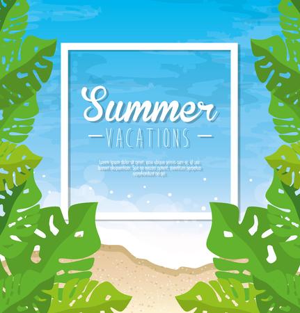 De zomervakantieteken met tropisch bladerenkader over strandachtergrond. Vector illustratie.