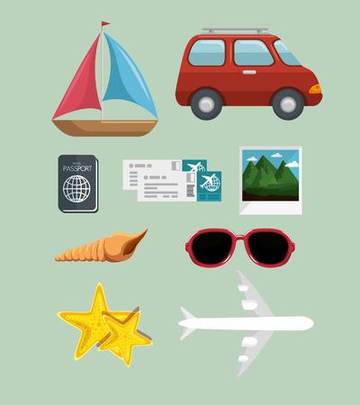 旅行に関連するオブジェクトと夏の休暇は、緑の背景の上署名します。ベクトル illuistration。