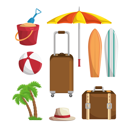 Traveling and beach-related objects and summer vacations sign over white background. Vector illustration.