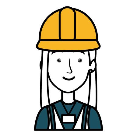 arquitecto caricatura: trabajador de la construcción mujer avatar carácter ilustración vectorial diseño
