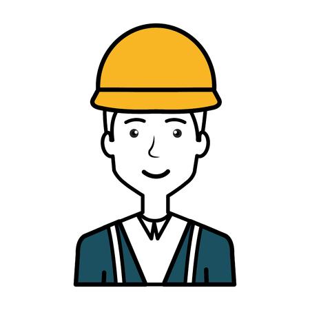architect: A construction workman avatar character vector illustration design Illustration