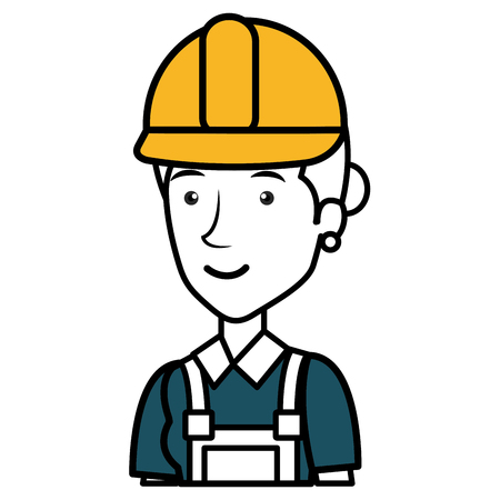 A construction worker woman avatar character vector illustration design