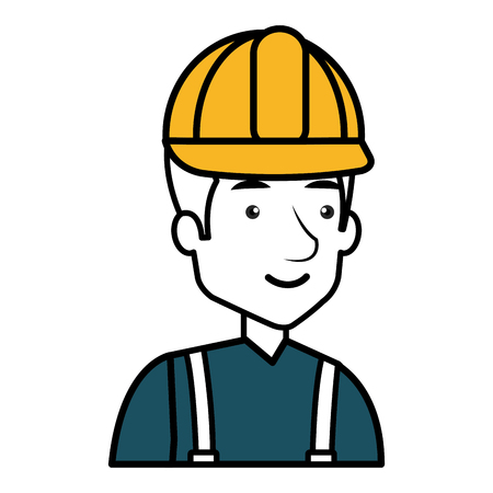Un diseño del ejemplo del vector del carácter del avatar del obrero de la construcción Foto de archivo - 77696655