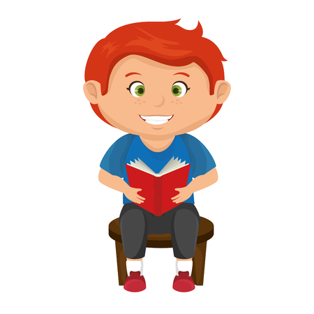 happy little boy reading character vector illustration design