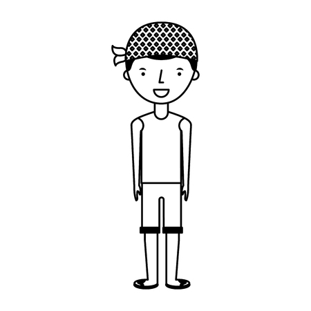 young boy with summer fashion vector illustration design