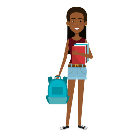 beautiful and young woman student with schoolbag vector illustration design