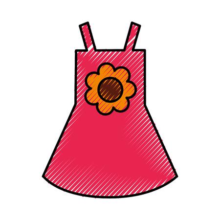 Vestido de niña de la playa con flores ilustración vectorial diseño Foto de archivo - 77700122