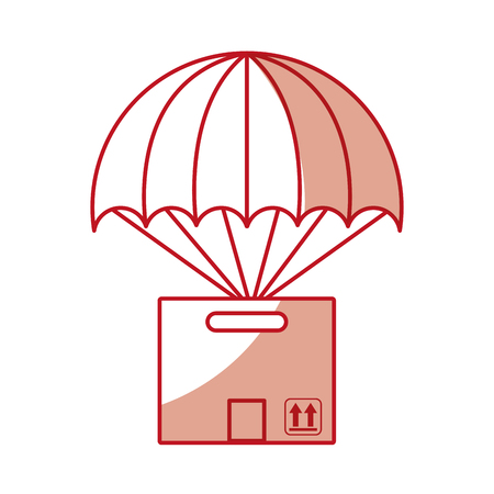 carton packing box with parachute icon vector illustration design