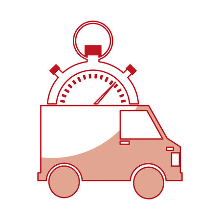 van and compass delivery service icon vector illustration design