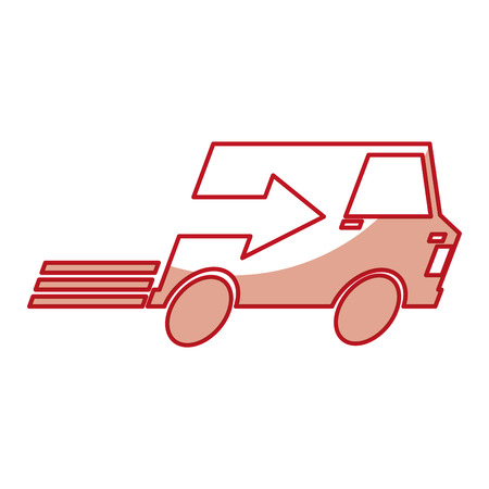 van with arrow delivery service icon vector illustration design