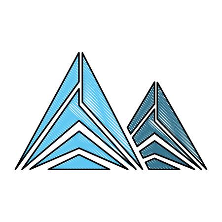 Mountain peak emblem icon vector illustration design